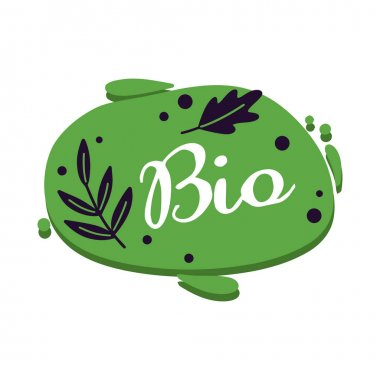 Bio abstract sticker with green branch isolated on white. Drawing badge to pack eco product. Vector illustration icon