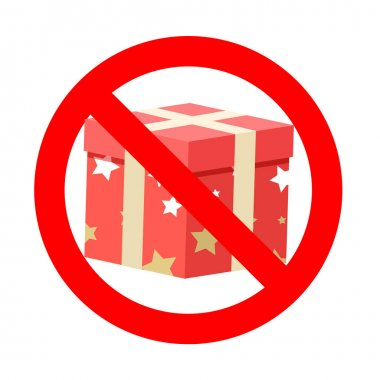 Banned gift icon symbol badge. Vector prohibition banner, warning icon package, information rule no box xmas, prohibited and attention party illustration icon