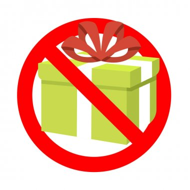 Prohibition present gift to holiday birthday event. Prohibitory surprise, package prohibition, no pack giving, ban 3d gift box, forbid celebrating. Vector illustration icon