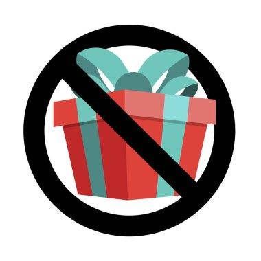 No present icon flat sign, banner to birthday event. Vector forbid celebrating, warning xmas gift box, ban parcel, information forbidden, illustration icon
