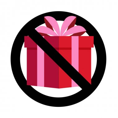No present gift, banned celebrating, non bribe. Vector no gift prohibitory surprise, package prohibition illustration icon
