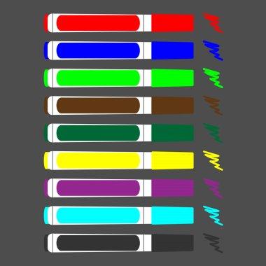 Set of colored felt-tip pens