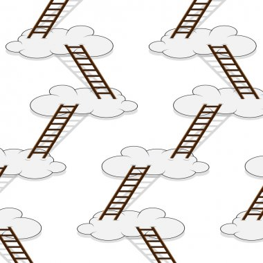 Stairway to clouds seamless pattern