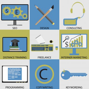 Icon set concept of remote work