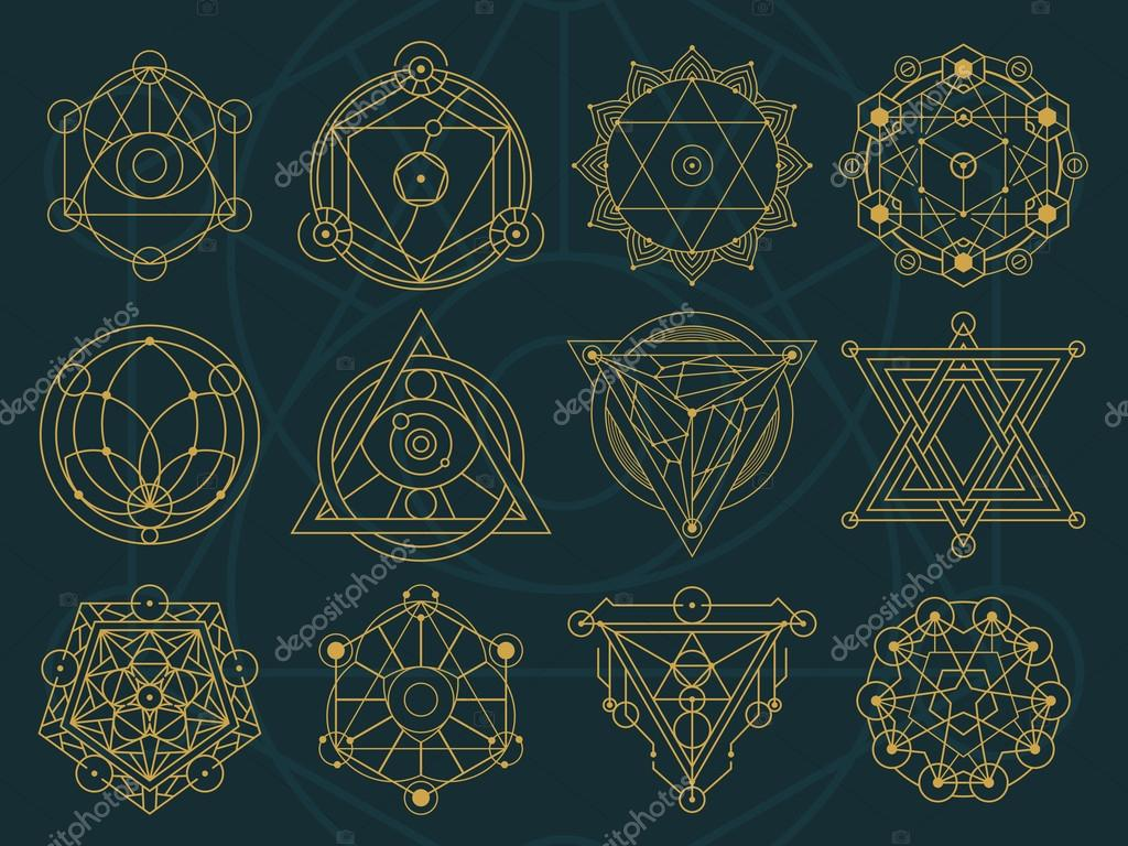 Abstract sacred geometry and magic symbols set 1 stock vector a set of abstract symbol in different styles sacred geometry magic mystic meditation alien vector by pixaroma buycottarizona