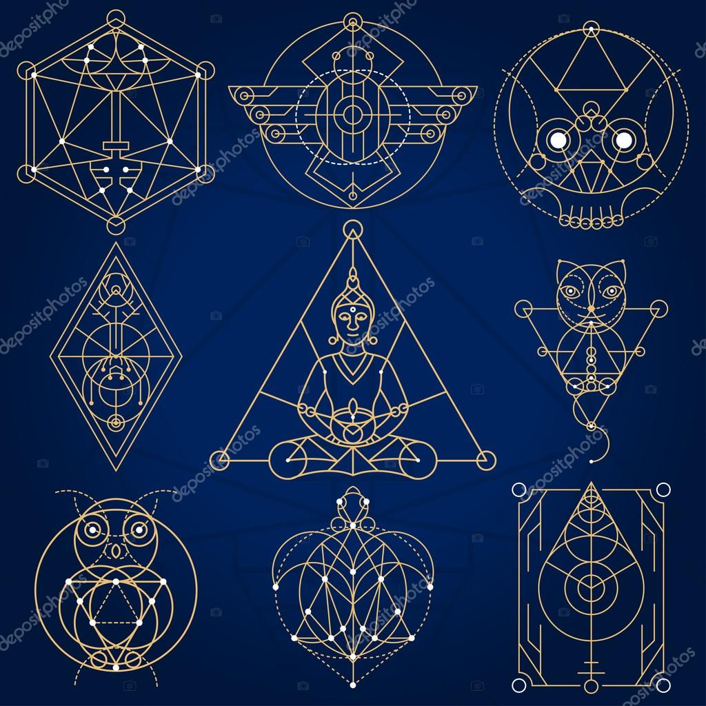 sacred geometry fictional symbols stock vector pixaroma 122498386