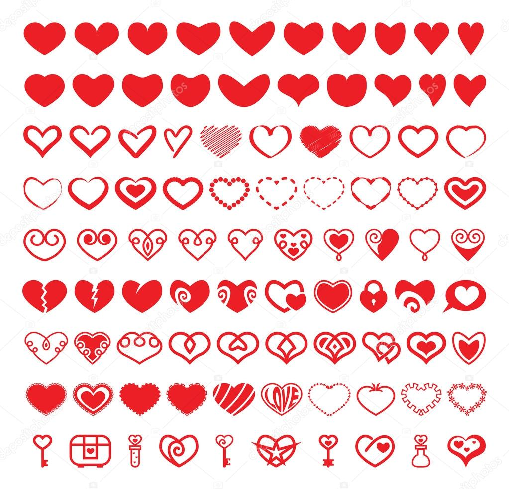 Heart Vector Shapes Set