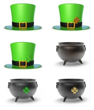 St. Patricks Day Had and Cauldron Set 3D