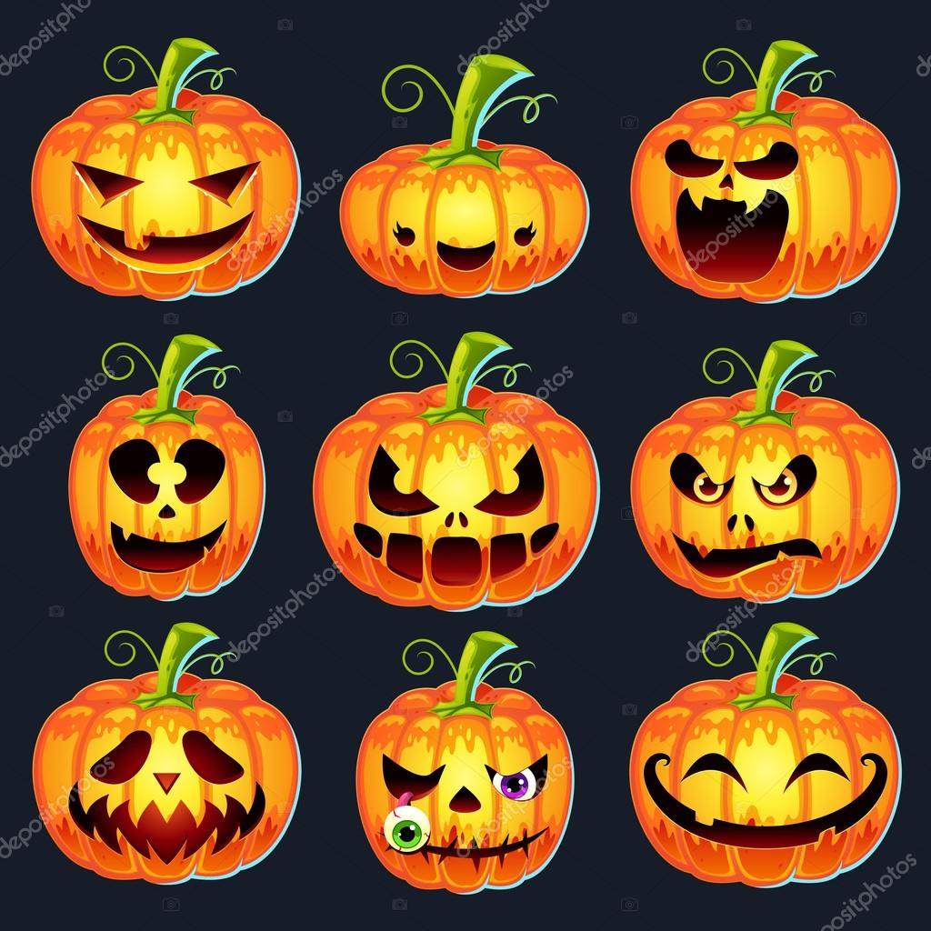 Facce Zucche Di Halloween.Impostare Zucche Di Halloween Vettoriali Stock C Pixaroma 78796046