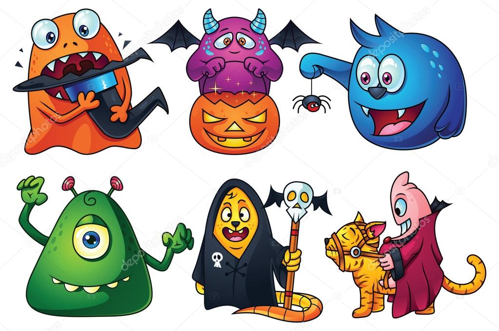 conjunto de dibujos animados lindo monstruos vector de stock