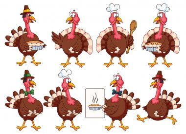 Thanksgiving Cartoon Turkeys Set