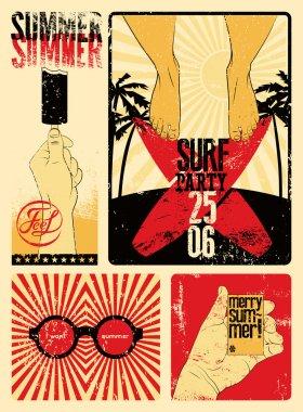 Typographic Summer Party grunge retro poster design. Vector illustration.