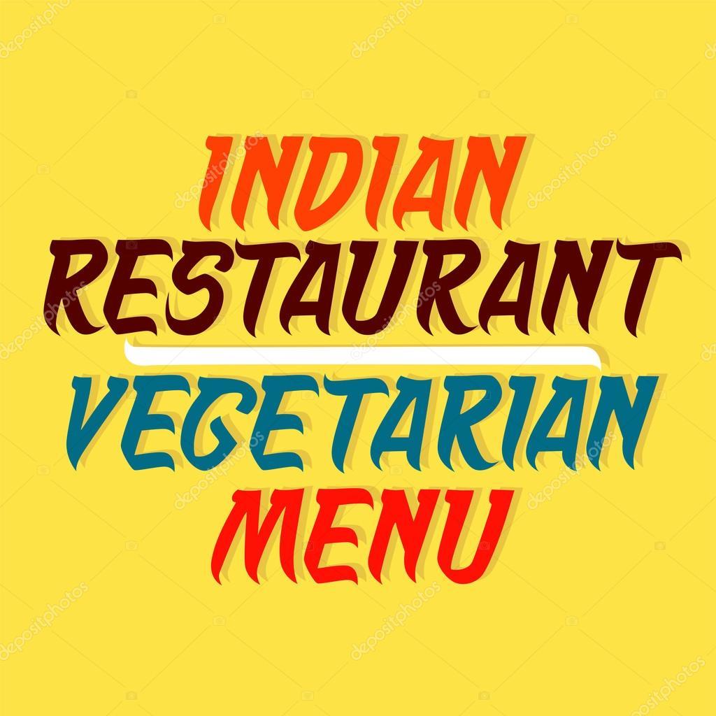 Diseño tipográfico de tarjeta de menú vegetariano restaurante indio ...