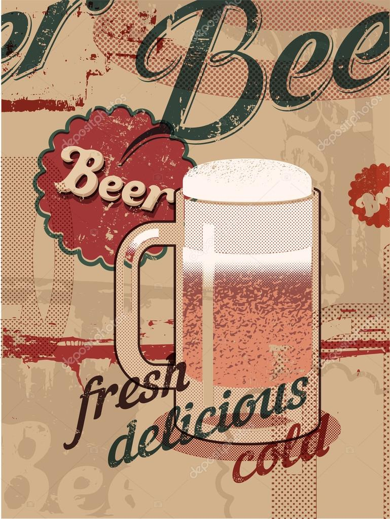 Vintage Style Poster With A Beer Mug Retro Vector Stock
