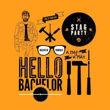 Set of grunge design element for stag party. Vector illustration