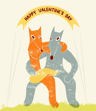 Funny fox and wolf in retro style. Happy Valentines Day card. Vector illustration.