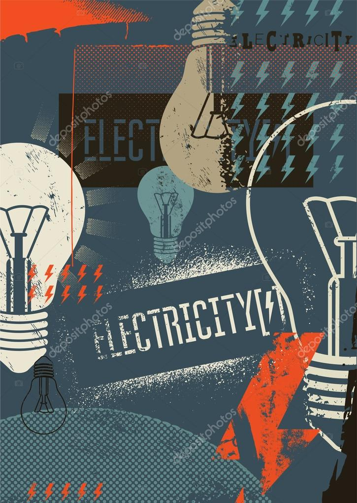 Electricity. Retro grunge poster. Vector illustration.