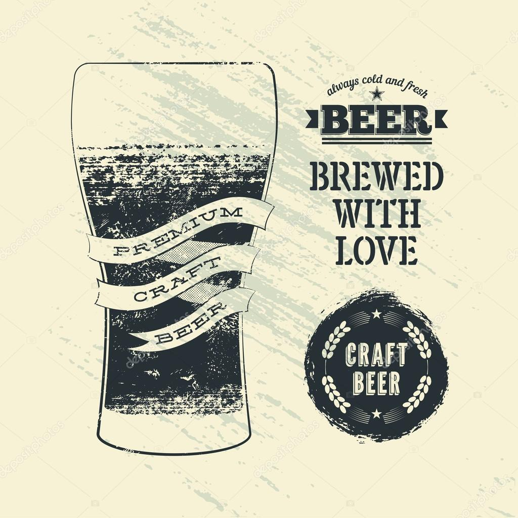 Typography Vintage Grunge Style Beer Poster With Glass Of Vector Illustration Stock