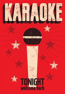 Typographic retro grunge karaoke poster. Vector illustration.