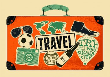 Typographical retro grunge travel poster. Vintage design old suitcase with labels. Vector illustration.