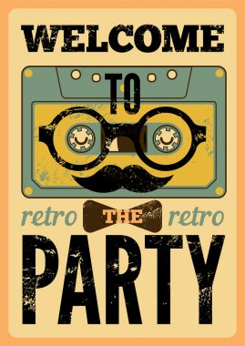 Typographical Retro Party poster design with funny audio cassette hipster character. Vintage vector illustration.