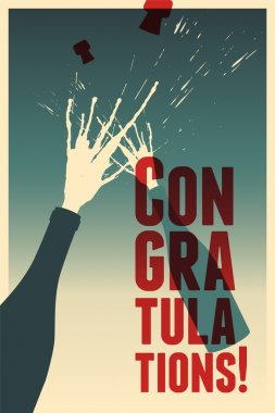 Typographic retro congratulations poster with champagne explosion bottles. Vector greeting card.