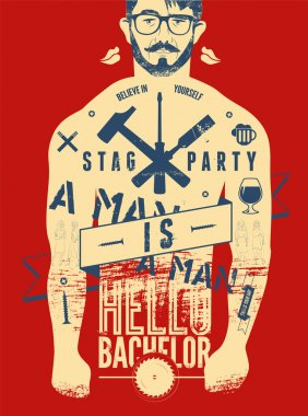 Typographic poster for stag party
