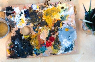 """Картина, постер, плакат, фотообои """"раскрашенные маслом мазки кистью на расслабляющей домашней палитре художника картина"""", артикул 451172990"""