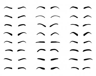 Types and forms of eyebrows, tattoo design, black silhouettes