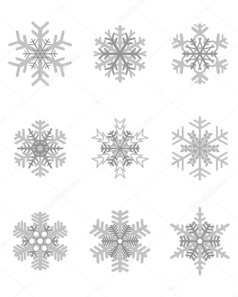 diferentes copos de nieve gris — Archivo Imágenes Vectoriales ...