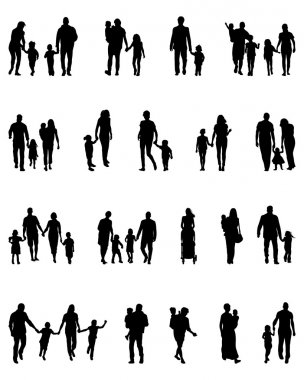 Black silhouettes of families in walk, vector stock vector