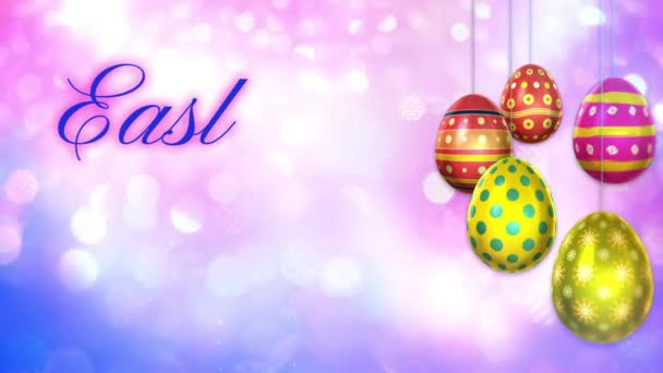 Easter Greetings on Lights with Spinning Eggs Loop