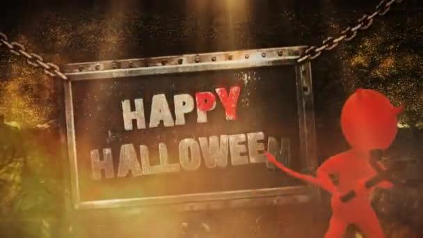 Happy Halloween Devil Metal Sign 4K Loop