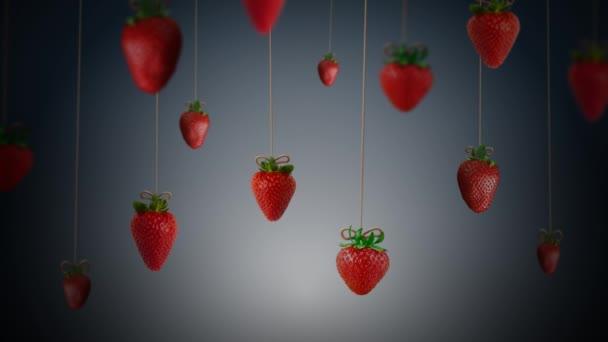 Swinging Jahody Pozadí 4K Loop prvky jahody visí na struny kymácející se dopředu a dozadu na skloněném pozadí ve smyčce