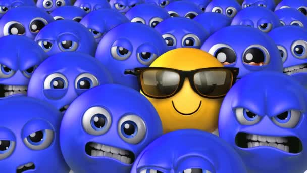 Stand Out in a Crowd Happy Emoji 4K Loop features a single yellow emoji wearing sunglasses and smiling in a crowd of blue emojis with expression ranging from angry to sad in a loop