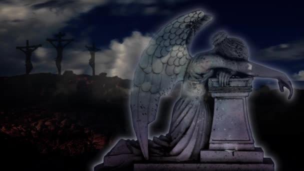 Plačící anděl s textem