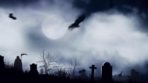 Pipistrelli di cimitero nel chiaro di luna felice Halloween