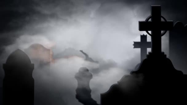 Veselý Halloween mlhavé hřbitov
