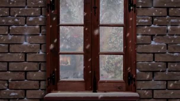 Veselé Vánoce zamrzlé okno