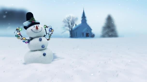 Veselý vánoční sníh zimní scéna