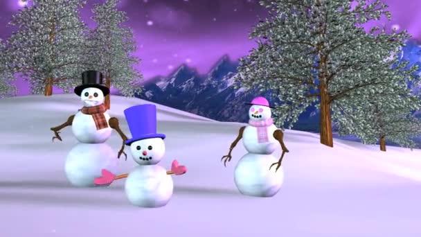 Sněhulák rodina při západu slunce žádné textury