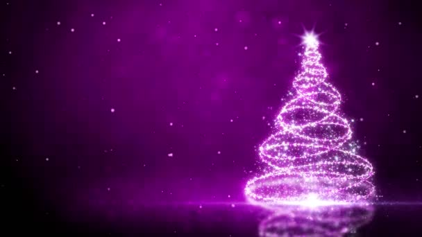 Purple Glitter Tree with Snow Particles Background