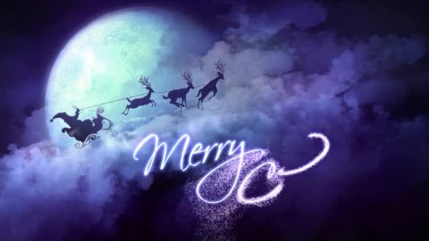 Merry Christmas Santa Rides Purple Clouds