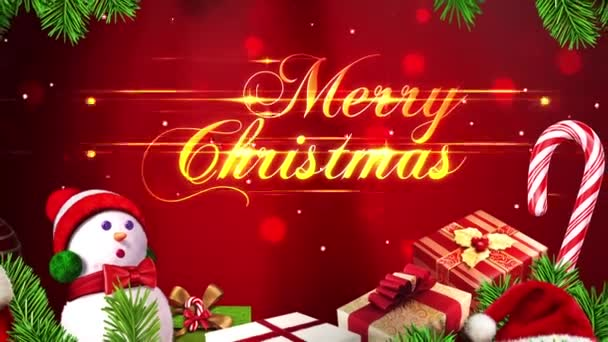 Merry Christmas text with Particles and Ornaments