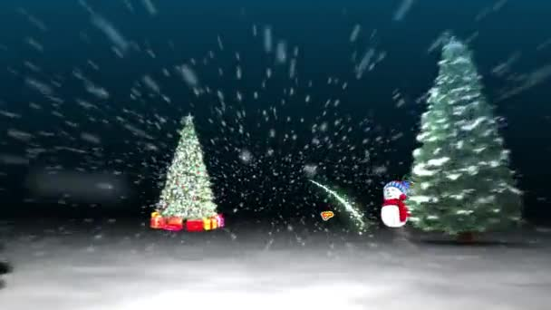 Merry Christmas Tree Rush Zoom with Snowman