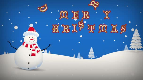 Rocking Snowman Christmas New Year Text Loop
