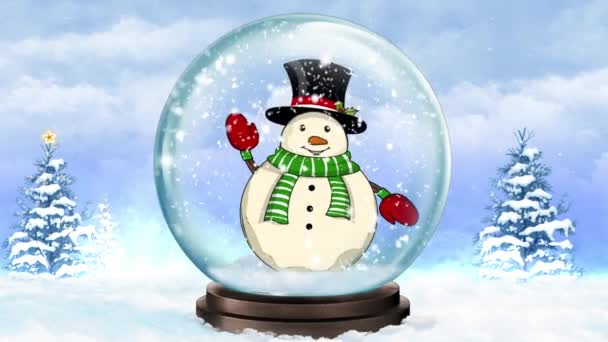 Snow Globe Waving Snowman