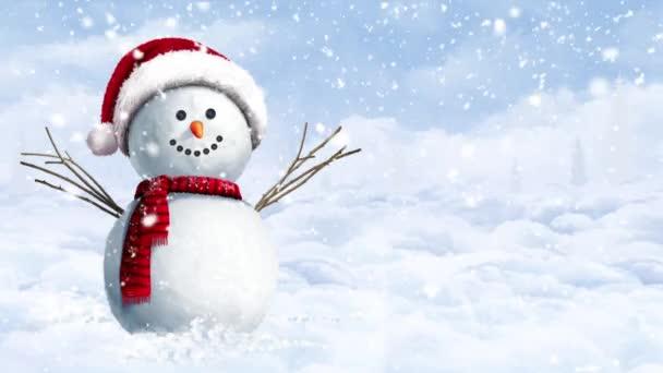 Snowman zavěšený na zasněženém zimním dnu