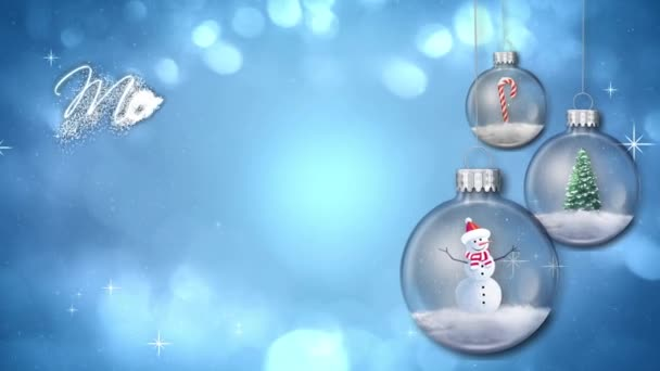 Swinging Ornaments on Blue Merry Christmas Text Loop