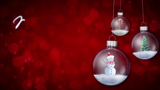 Swinging Ornaments on Red Merry Christmas Text Loop